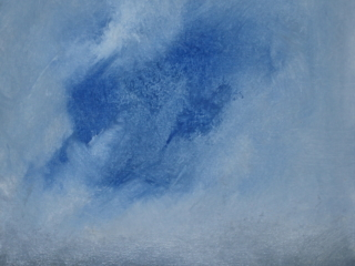 landscape oil painting in blues, white and gray