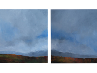 Two panel skyscape in blues, grays and earthtones