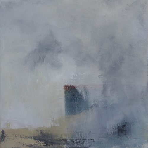 abstract oil painting of a foggy shore with a building