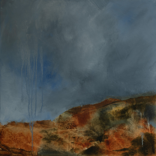 abstract oil painting of a landscape in blues and earthtones
