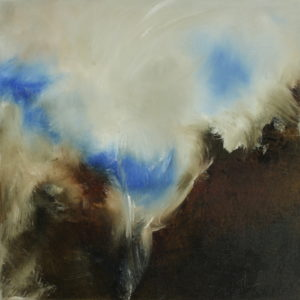 abstract painting of sky in blue, cream and brown